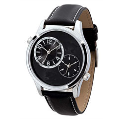 dual time watch with leather band