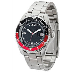high tech silver watch with red and black bezel